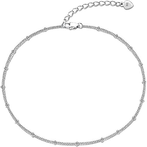 Milacolato 925 Pulseras de Tobillo de Plata Esterlina para Mujer Chapado en Oro de 18 Quilates Clásico Verano Joyas de Playa Perlas Satélite Cadena de Perlas