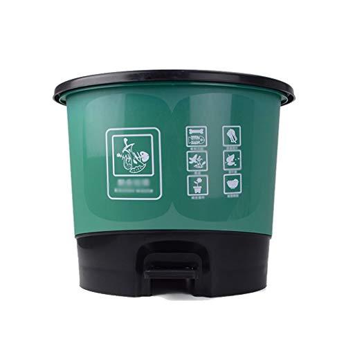 Papelera baño Operado del pie 10L oval bote de basura Saneamiento tubo de plástico cubierto Papeleras Cocina Hogar Papelera de Reciclaje Azul Verde Rojo Amarillo, 33 * 26 * 29cm Papelera de oficina