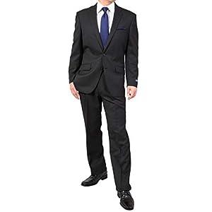 【KOKUBO】秋冬 腕や太ももが大きめ ゆったり アスリートモデル 肩らく メンズ スーツ 2ツボタン スーツ チャコール・ピンヘッド 体型:BB体 7号