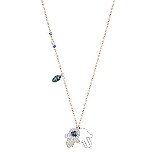 Swarovski Colgante Symbolic Hamsa Hand, Acabado con combinación de Metales, Cristales Multicolor, para Mujer
