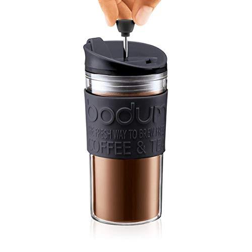 BODUM ボダム TRAVEL PRESS SET トラベルプレスセット フレンチプレス コーヒーメーカー (タンブラー用リッド付き) プラスチック 350ml ブラック 【正規品】 K11102-01