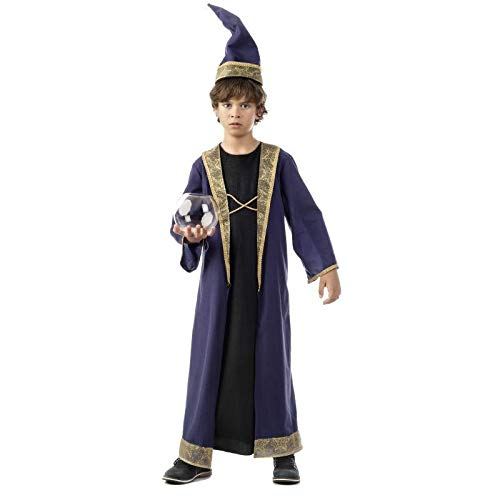 Disfraz de aprendiz de mago Merlín, para niños, 2 piezas: túnica y sombrero de mago, color púrpura., Infantil, violeta, 7-9 años