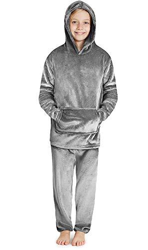 CityComfort Schlafanzug Jungen, Fleece Pyjama Kinder, Hoodie und Hosen Set, Schlafanzug Kinder Lang, Hausanzug Kinder Jungen und Teenager (Grau, 9-10 Jahren)