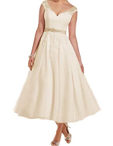 Kurz Brautkleider Wadenlang Hochzeitskleid A-Linie Kleider mit Gürtel für Braut Spitze Applikation Champagne 32