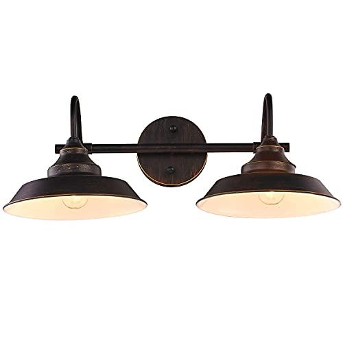 DGHJK Wandleuchten Wandleuchte Schwarz Edison Vintage Style Wandleuchte Wandleuchte für Spiegel Badezimmer Arbeitszimmer, 2 Leuchten, E27 Sockel, 52 cm Spiegelleuchte