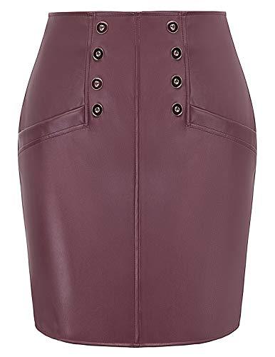 Basic Simple High Waist Side Zipper Pencil Mini Skirt Wine X-Large