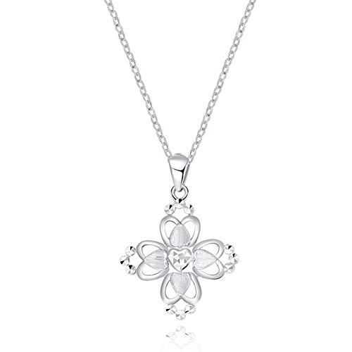 KnSam Pt950 Platin Halskette Wünschen Sie Blumenmatte Herz Kette Gold Anhänger Geeignet Für Alle Arten Von Geschenken Silber