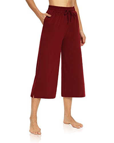 DIBAOLONG Womens Capri Pants Loose Yoga Pants Wide Leg Drawstring Comfy Lounge Pajama Capris Sweatpants with Pockets Burgundy L