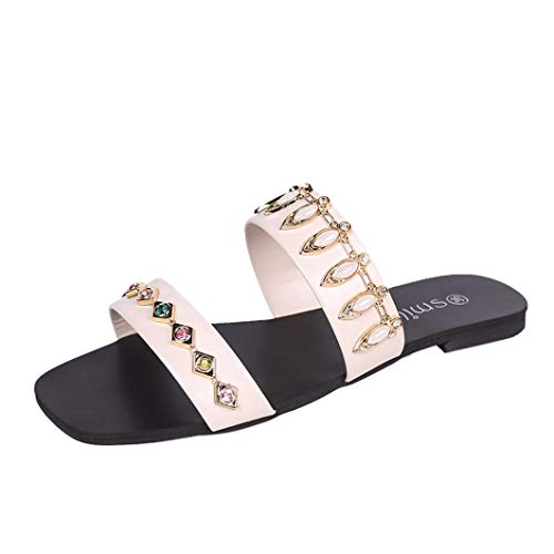 Les Femmes Rondes Bouts Plats Diapositives Sandales Crystal Slip on Comfort Dames Open Toe Mules Slipper Chaussures