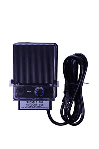 150W Watt AC to 12V Volt LED & Halogen -120V Volt Low Voltage Landscape Lighting Indoor/Outdoor Weatherproof Transformer Electric Power Pack with Photocell Sensor - Black Case