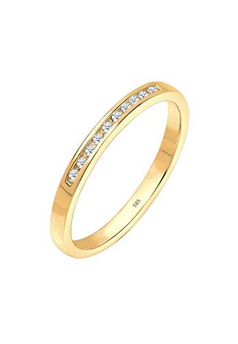 DIAMORE Ring Damen mit Diamant (0.10 ct.) Reihenfassung in 585 Gelbgold