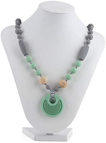 Nuby Baby Teething Trends Silicone Pendant Necklace for Moms with Wooden Silicone Beads 983 product image