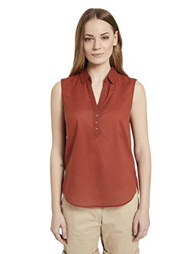 TOM TAILOR Damen Blusen, Shirts & Hemden Ärmellose Henley-Bluse mit Seitenschlitzen Goji Orange,38,13054,4556
