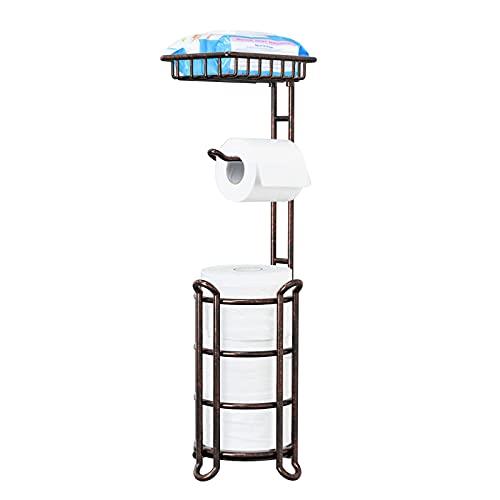 TreeLen Toilet Paper Holder Stand Tissue Holder for Bathroom Floor Standing Toilet Roll Dispenser Storages 4 Reserve Mega Rolls, Phone, Wipes-Vintage Bronze