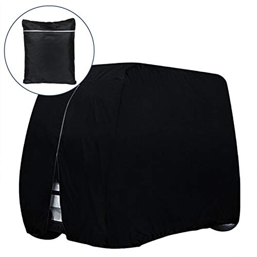 JIEBANG 4 Passagiergolf Cart Cover, wasserdichtes und langlebiges Golf-Cart-Cover passt, für EZ Go Club Car Golf Carts Black-S
