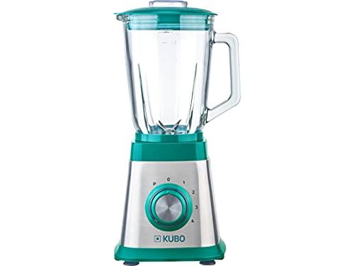 KUBO Batidora de Vaso, 1000 W, 4 velocidades, 1.5L, 6 Cuchillas de Acero Inoxidable, Inox y Verde, Función Pulse, Jarra de Cristal