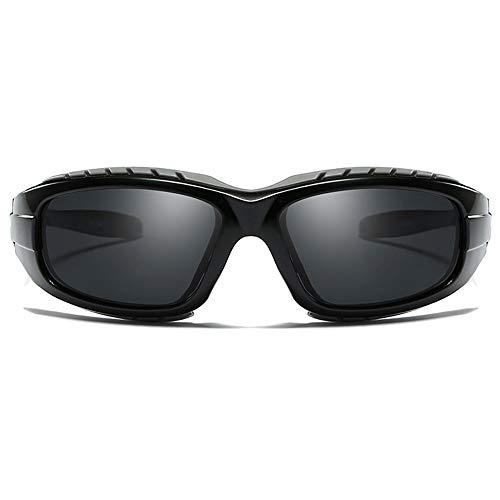 LCSD Gafas de sol de plástico polarizadas a prueba de viento para deportes de equitación y ciclismo, para hombre y mujer, con la misma conducción (color: negro)