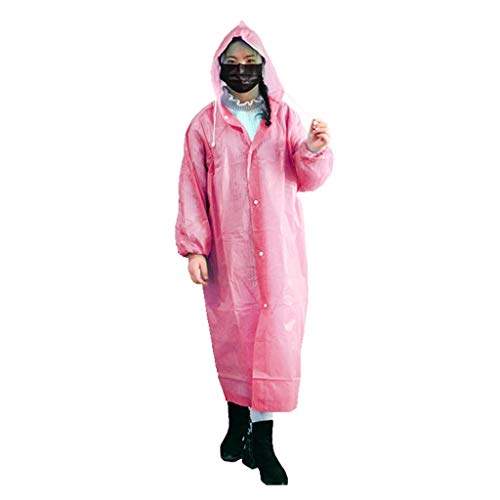 Wegwerp Regenjas, waterdichte Whole Body lange sectie Coat mannen en vrouwen Thicken Outdoor draagbare Poncho (Color : Pink)