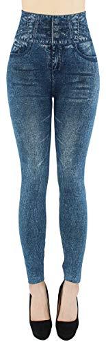 dy_mode High Waist Leggings Damen Jeggings Hochbund Leggins - JL060 (JL275-BlueSnow | One Size Gr.36-38)