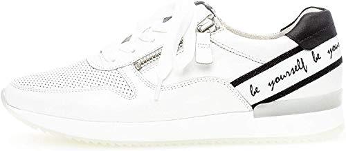 Gabor Damen Sneaker, Frauen Low-Top Sneaker,Best Fitting,Reißverschluss,Optifit- Wechselfußbett, Halbschuh schnürer,Weiss/schwarz,41 EU / 7.5 UK