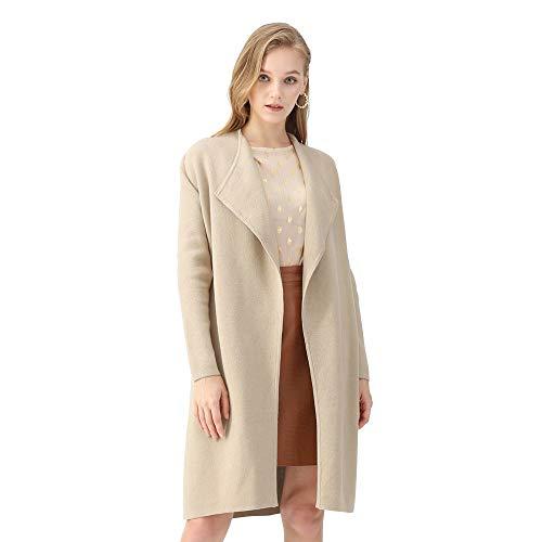CHICWISH Women's Classy Light Tan Open Front Knit Coat Cardigan, Size M-L