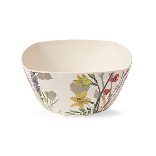 BIOZOYG Stilvolle Schüssel aus Bambus weiß mit attraktivem Blumen Muster I Schüssel BPA frei, lebensmittelecht, spülmaschinenfest I Deko-Schale Bambus Servierschale 3,5 L 24,8 x 12 cm