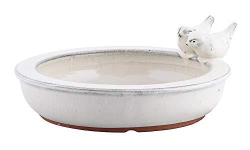 zeitzone Vogeltränke mit Vögelchen Keramik Weiß Vogelbad Vogelfutterschale Rund 27cm