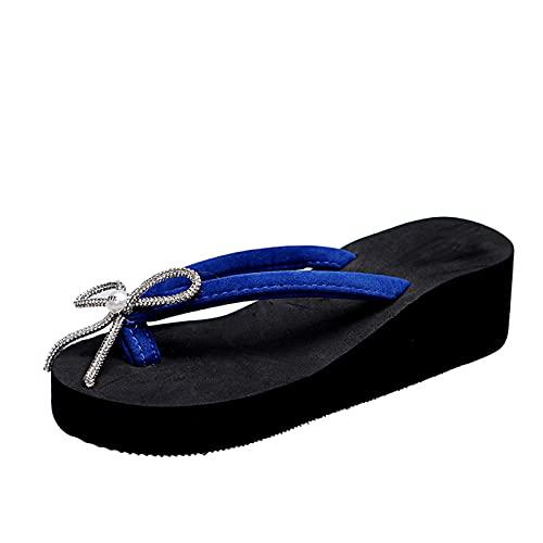 Beudylihy Sandalias de verano para mujer, sandalias con plantilla para los pies, cordones, cuña, nudos, chanclas planas, zapatos de playa abiertos, azul, 37 EU