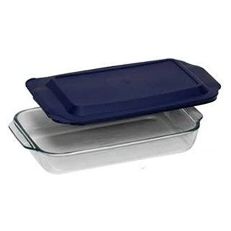 "PYREX 3QT Glass Baking Dish with Blue Cover 9"" x 13"" (Pyrex)"