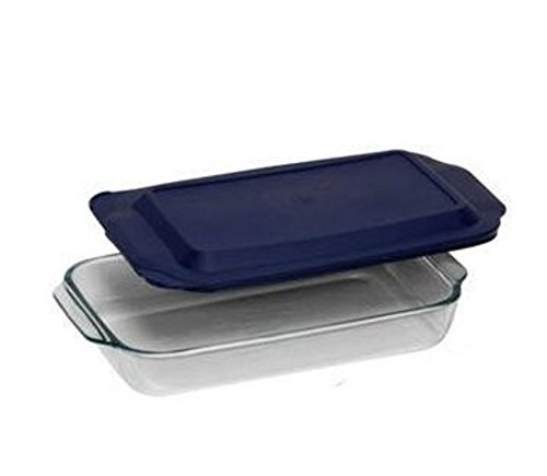 "Pyrex 3QT Glass Baking Dish with Blue Cover 9"" x 13"""