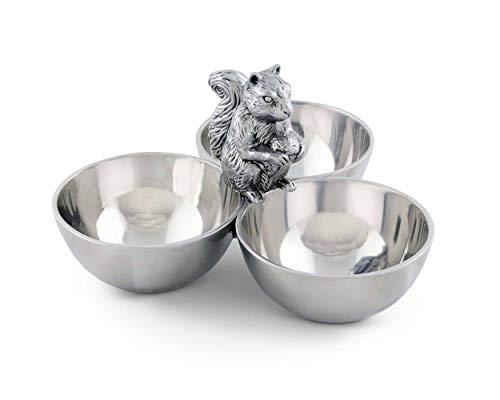 Arthur Court Squirrel 3 Bowl Nut/Snacks/Candy Ensemble - Cast Aluminum Hand Polished 6