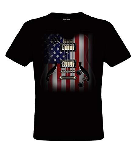 DarkArt-Designs US Flag Guitar - Gitarren T-Shirt für Kinder und Erwachsene - Musikmotiv Shirt Band Fun Party&Freizeit Lifestyle Regular fit, Größe L, schwarz