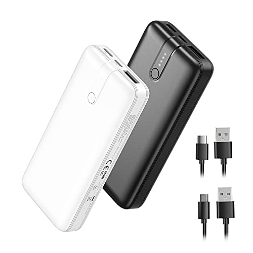 10000mAh Portable Charger 2-Pack Power Bank, Fast Charging External Battery Pack with USB-C Dual Input, Cell Phone Charger Battery Bank for iPhone12 Samsung S10 LG Google AirPod