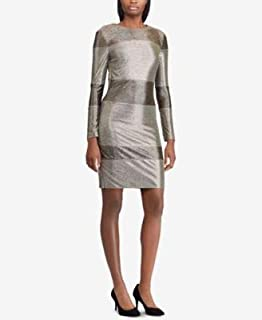 RALPH LAUREN Womens Gold Sequined Striped Long Sleeve Jewel Neck Above The Knee Sheath Party Dress US Size: 6