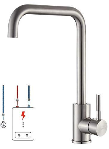 Lonheo Niederdruck Wasserhahn Küche Armatur aus Edelstahl, 360° Schwenkbar Küche Mischbatterie Einhebelmischer für Kaltwasser und einen Wasserboiler konzipiert