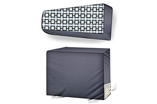 Stylista ac Cover Set of Indoor and Outdoor Unit for 1 ton Capacity Lattice Pattern Grey