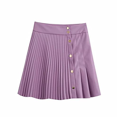 Falda Corta Plisada Tenis Mujer Niñas Falda De Cuero De PU Sólida Botones De Cintura Alta Mini Falda Plisada Sexy Moda Asimétrica