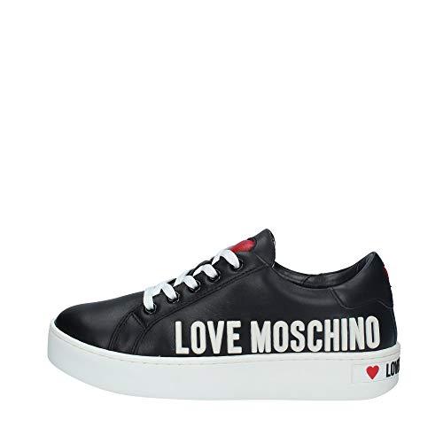 Moschino Scarpe Donna Love Sneaker Pelle Nero Fondo a cassetta D21MO15