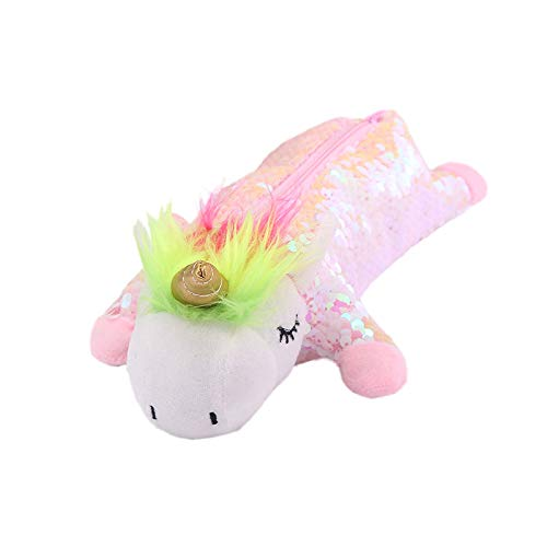 Chris.W Sequin Plush Unicorn Pencil Case Glitter Pen Holder Bag Stuffed Animal School Accessory Party Favors(Pink)