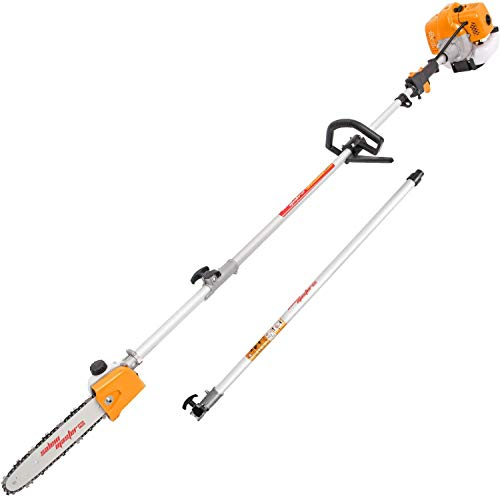 SALEM MASTER Gas Pole Saw 42.7CC 11 Feet 2-Cycle Cutting Tree Chainsaw Cordless Gasoline Powered Pole Chainsaw with Extension Pole Saw for Tree Trimmer with Carry Bag