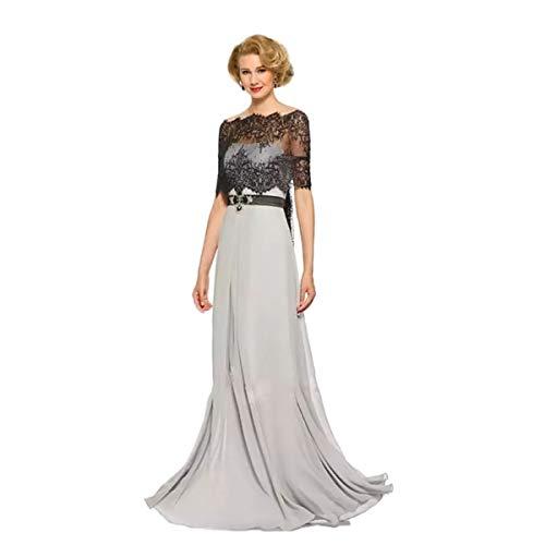 CoCogirls Zilveren Grijs Moeder van de bruidegom jurken met capes sweep trein sjaal lange jurk moeder van de bruid jurken