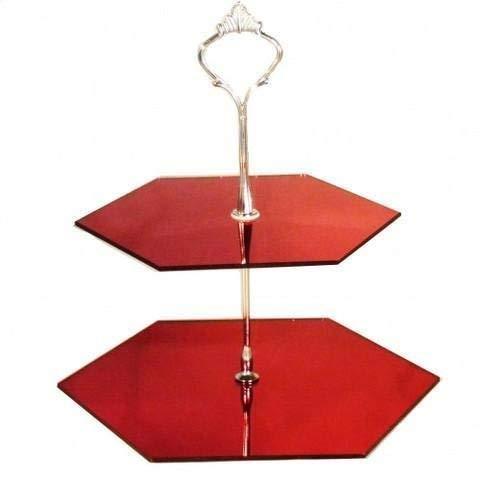 Deux Niveaux Hexagonale Présentoir Gâteau - Copié Rouge, STANDARD