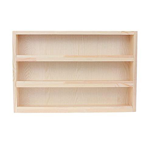YXIUER 3 vínculos de Escritorio Almacenamiento Mini Tabletop Bookcase Soporte de Archivo Hacer la Cinta Almacenamiento Pantalla Estante Muñeca Colección Caja (Color : Wood Color)