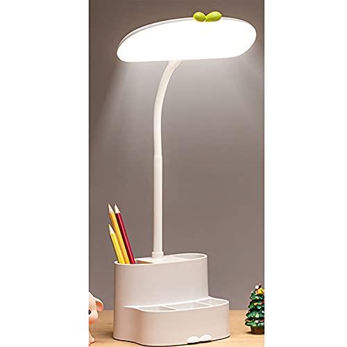 Botitu Lámpara De Escritorio con Protección Ocular LED con Portalápices, Lámpara De Lectura Táctil De 360 ° con Carga USB, Lámpara De Cabecera con 3 Modos De Luz,Blanco