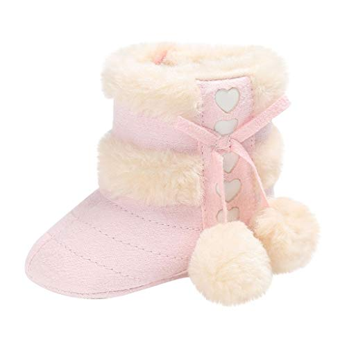 iLOOSKR Toddler Kid Baby Boys Girls Cute Comfortable First Walk Cotton Fabric Winter Warm Bow Knot Sweet Heart Shoes