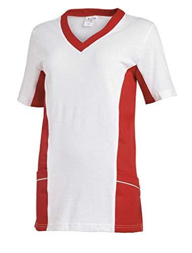 Leiber Women's Scrubs 2-Pocket Top, bicolour design, Colour: Red, Size: L