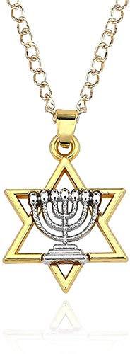 ZHIFUBA Co.,Ltd Collar Collar religioso y Estrella de joyería judía Collar Judaica Hebreo Israel Lámpara de fe Hanukkah Colgante Collar Colgante