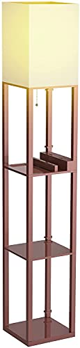 Floor Lamp with Shelves, Shelf Floor Lamps by Solid Wood with 2 USB Ports and 1 Power Outlet, Floor Lamps for Bedrooms, Lamps for Living Room, Bronze Color…