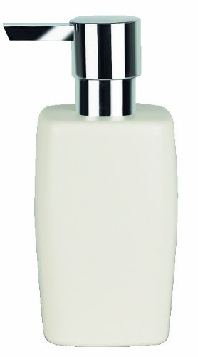 Spirella Seifenspender Retro | mit edelstahlfarbener Pumpe | Flüssigseifen-Spender | Porzellan | 300ml | Langliebig und Robust | Weiß