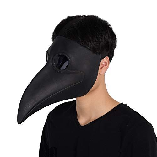 Finalshow Máscara de Pico Falsa Piel Plaga Doctor Máscara Disfraz de Halloween Cosplay Steampunk Costume para Adulto Negro-uno tamaño Adultos